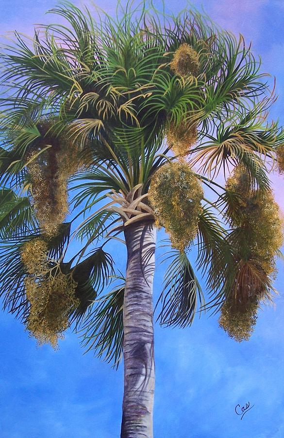 Palm Tree Painting - Tropical Breezes by Karen Casciani