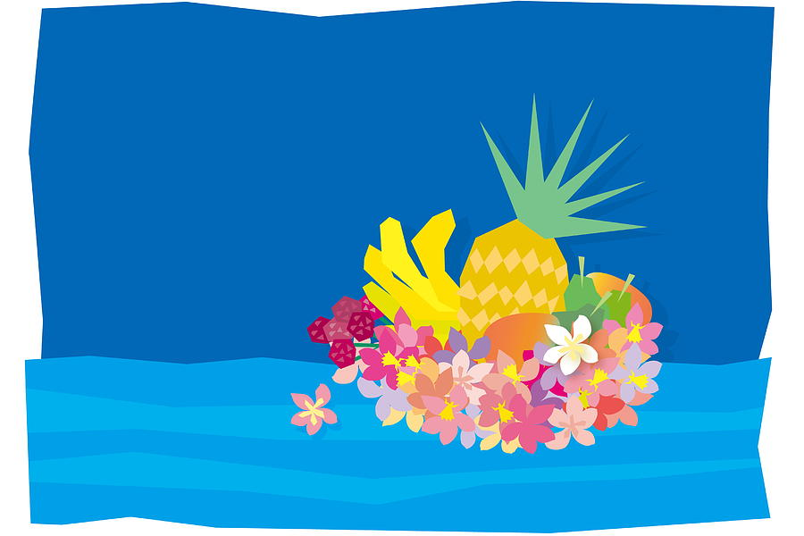 Tropical Flowers With Fruits On Waves Digital Art by Meg Takamura
