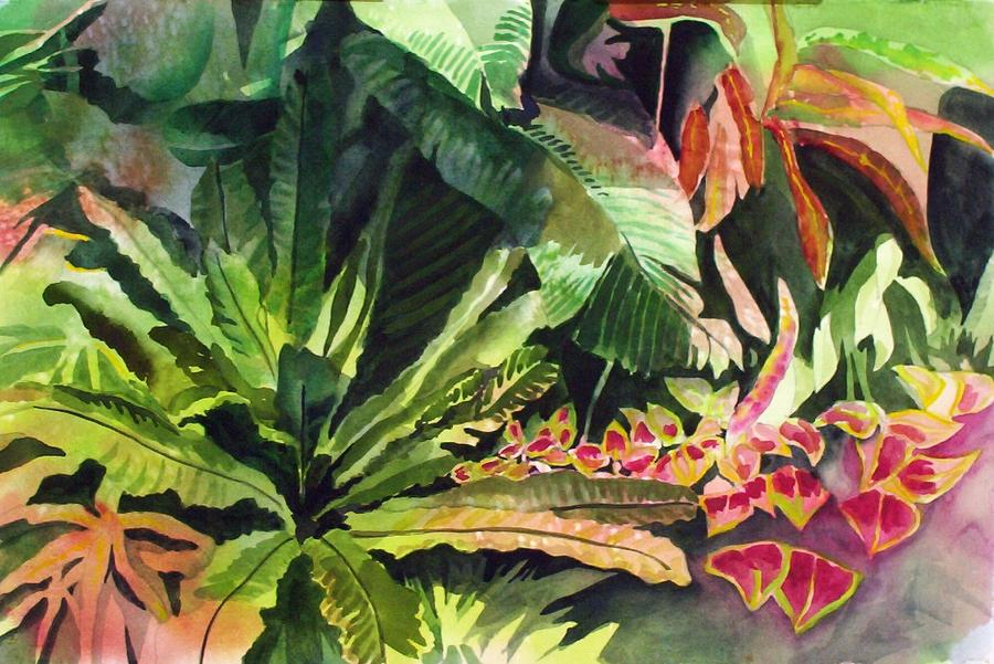 Tropical Garden Painting By Richard Willows