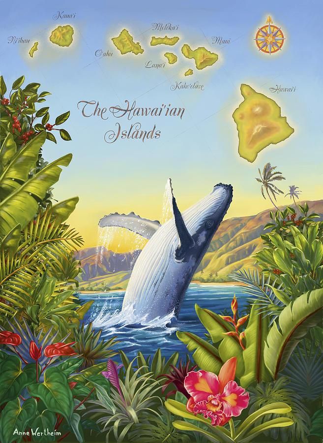 Hawaii Mixed Media - Tropical Hawaiian Island Map by Anne Wertheim