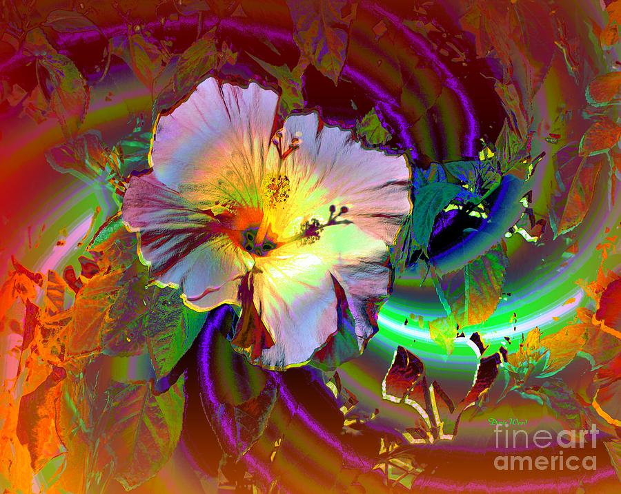 Flower Digital Art - Tropical Hibiscus Explosion by Doris Wood