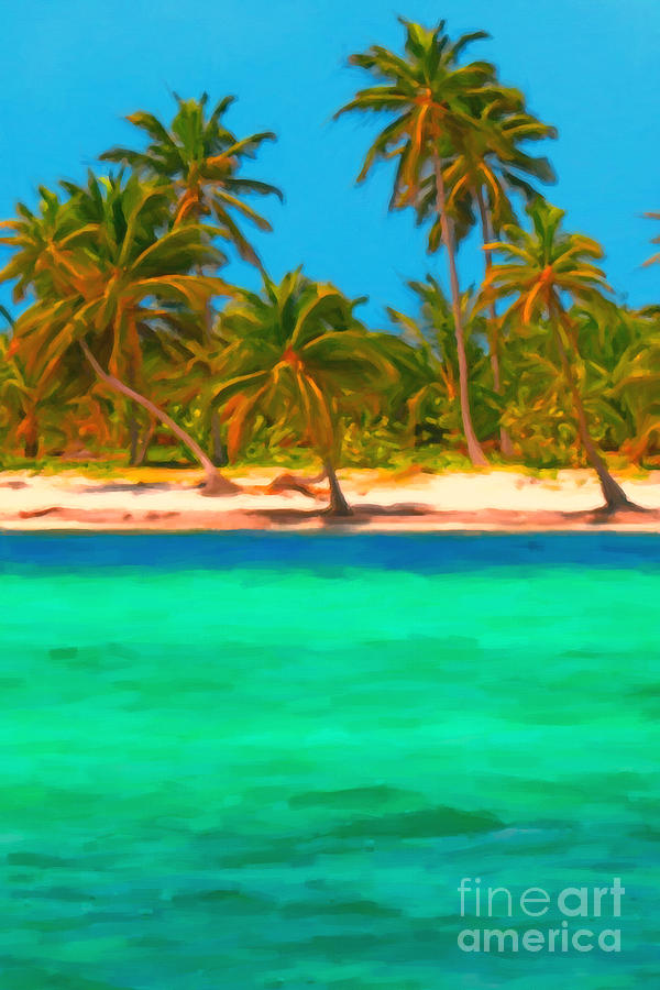 Tropical Island Photograph - Tropical Island 5 - Painterly by Wingsdomain Art and Photography
