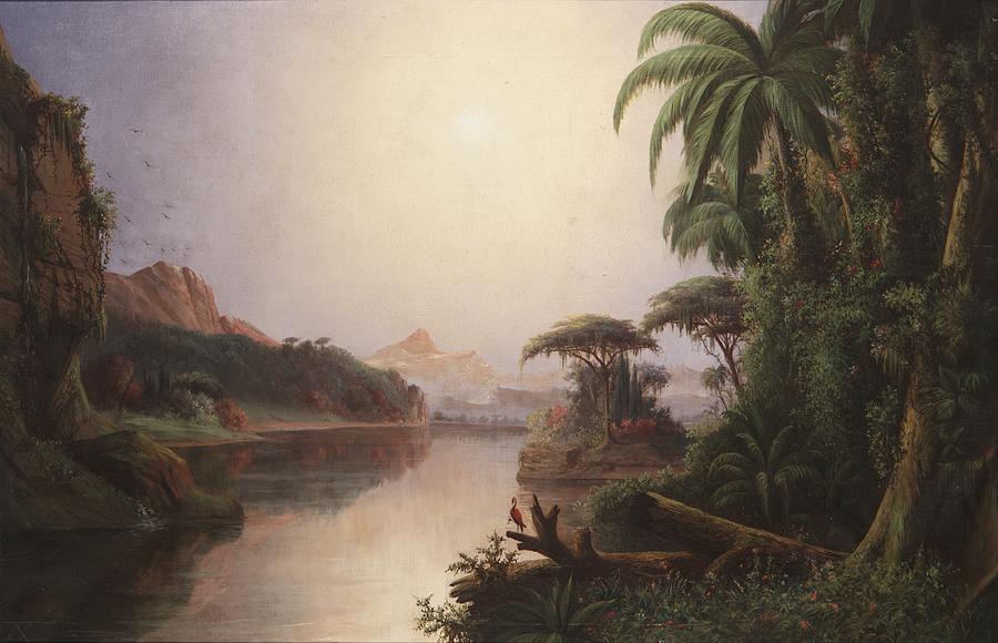 Tropical Landscape Painting By Norton Bush