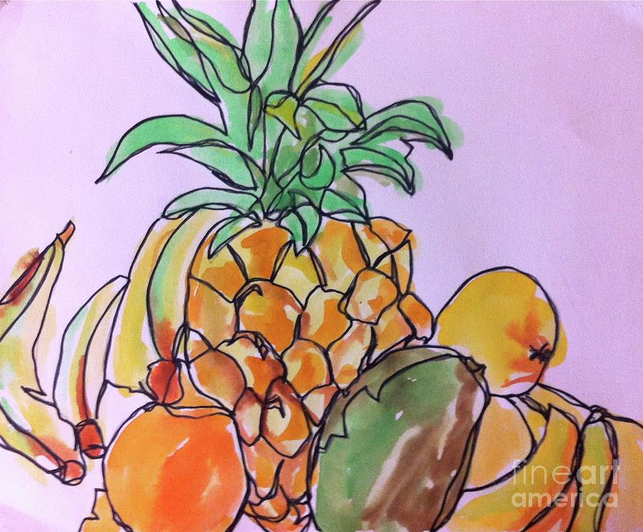 Watercolor Painting - Tropical Snack by Norma Gafford
