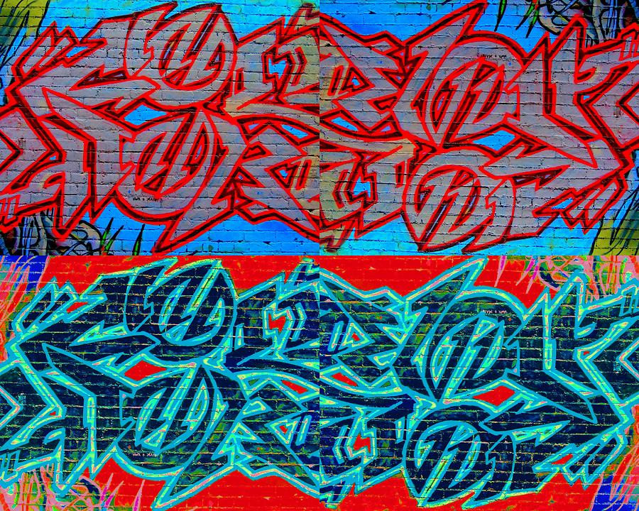 Graffiti Digital Art - Trouble Tapestry 1 by Randall Weidner