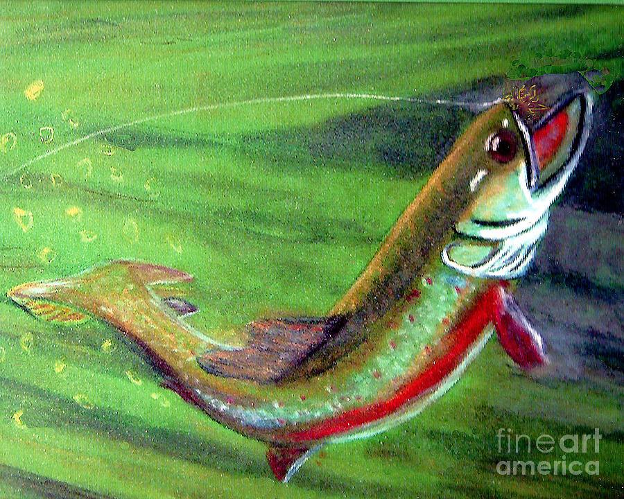 Trout Photograph - Trout On - Pastel Painting by Merton Allen