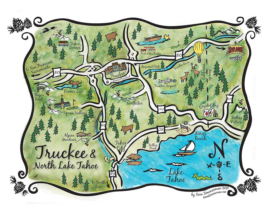 It's just an image of Inventive Printable Map of Lake Tahoe