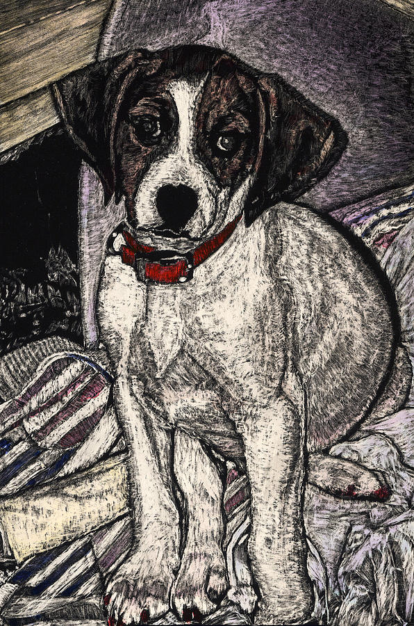 Puppy Painting - Trudy May The Puppy by Robert Goudreau