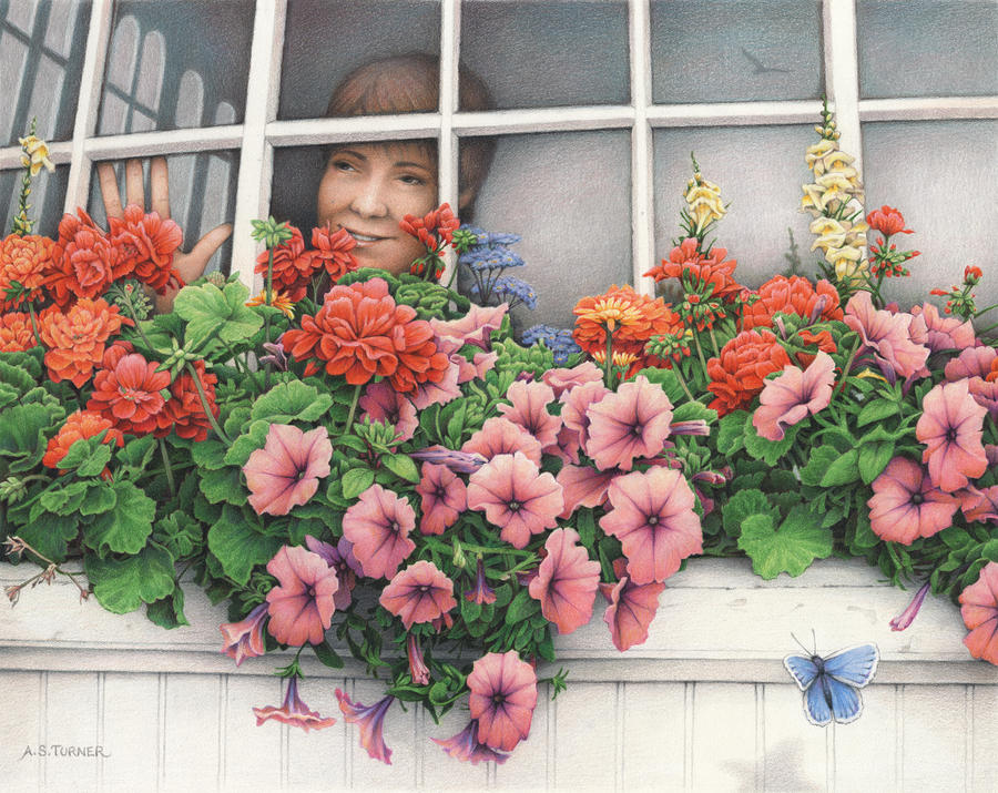 Colored Pencil Drawing - True Colors Shining Through by Amy S Turner