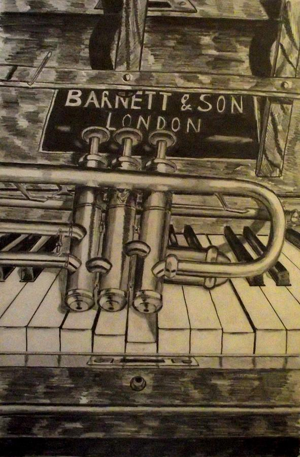 Trumpet On Piano Drawing By John Nolan