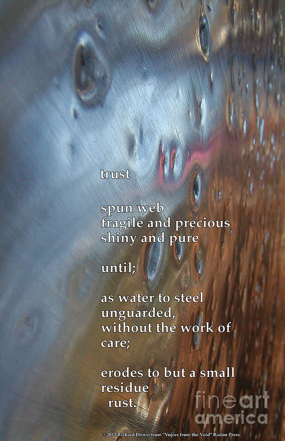 Poem Photograph - Trust by Richard Donin