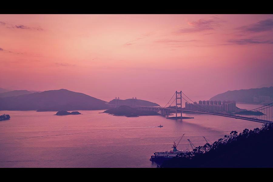 Tsing Ma Bridge In Hong Kong At Dusk Photograph by Yiu Yu Hoi