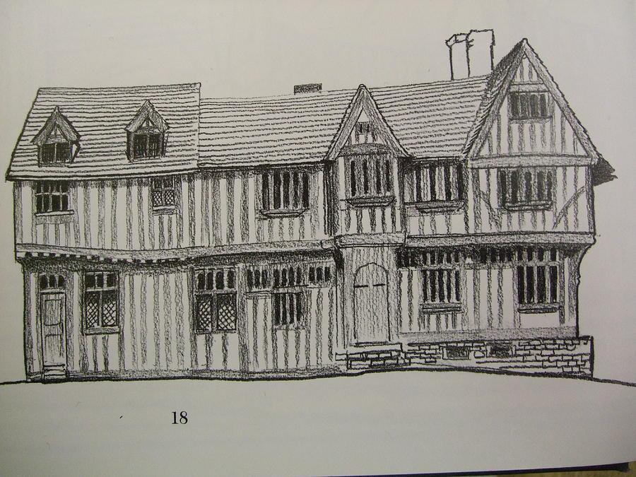 Tudor Houses Drawing By Mark Dermody