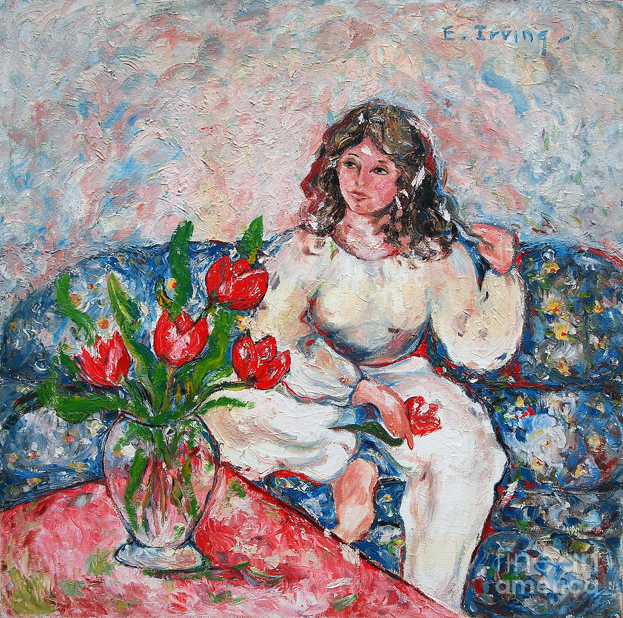 Figurative Painting - Tulip Girl by Elena Irving