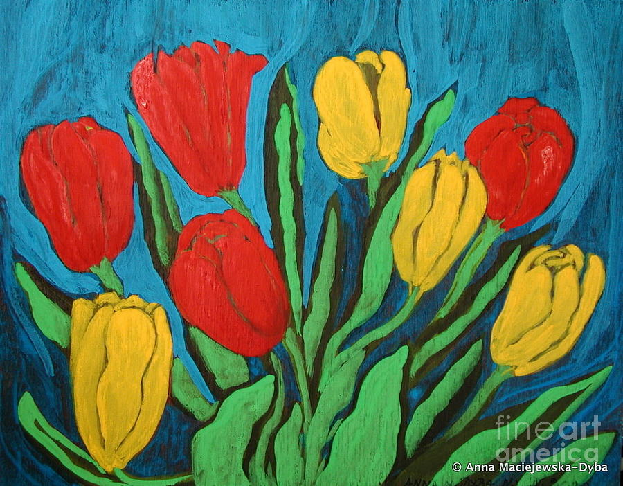 Folkartanna Painting - Tulips by Anna Folkartanna Maciejewska-Dyba