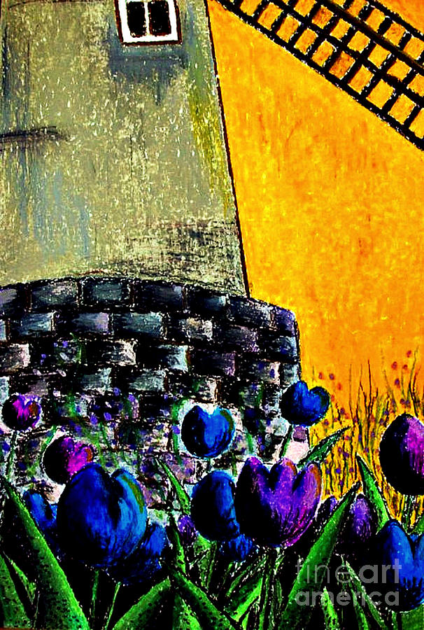 Tulips Painting - Tulips By The Mill by Aisa  Mijeno