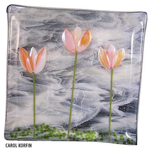 Tulips In A Field Glass Art by Carol Korfin