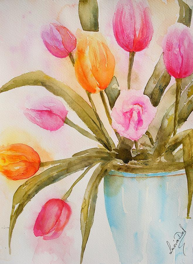 Tulips In Blue Vase by Lucia Del