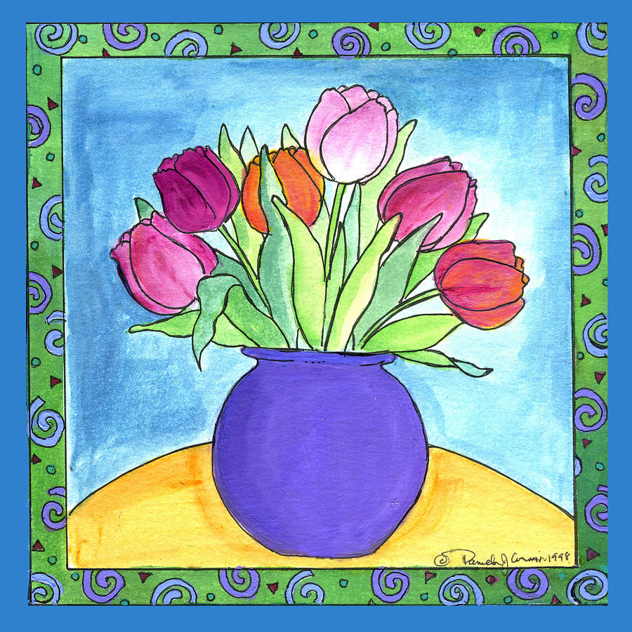 Whimsical Painting - Tulips by Pamela  Corwin