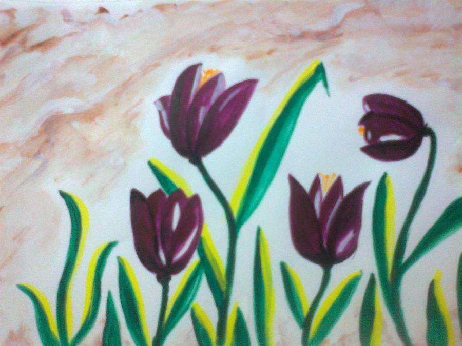 Purple Tulips Painting - Tulips by Seema Sharma