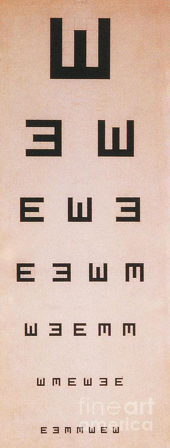 Tumbling E Eye Chart Photograph By Science Source