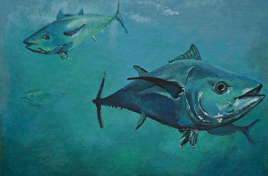 Seascape Painting - Tuna School by Terry Gill