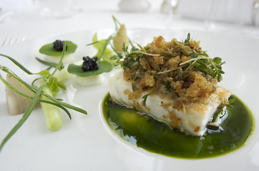 Turbot fish dish still life at famous photograph by keenpress for Gourmet fish recipes