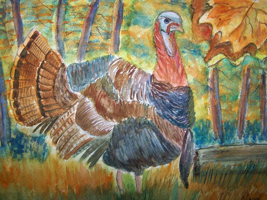 Wildlife Painting - Turkey In Fall by Belinda Lawson