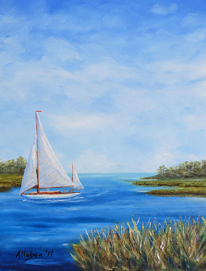 Lowcountry Sailboat Painting Painting - Turning In by Stanton D Allaben