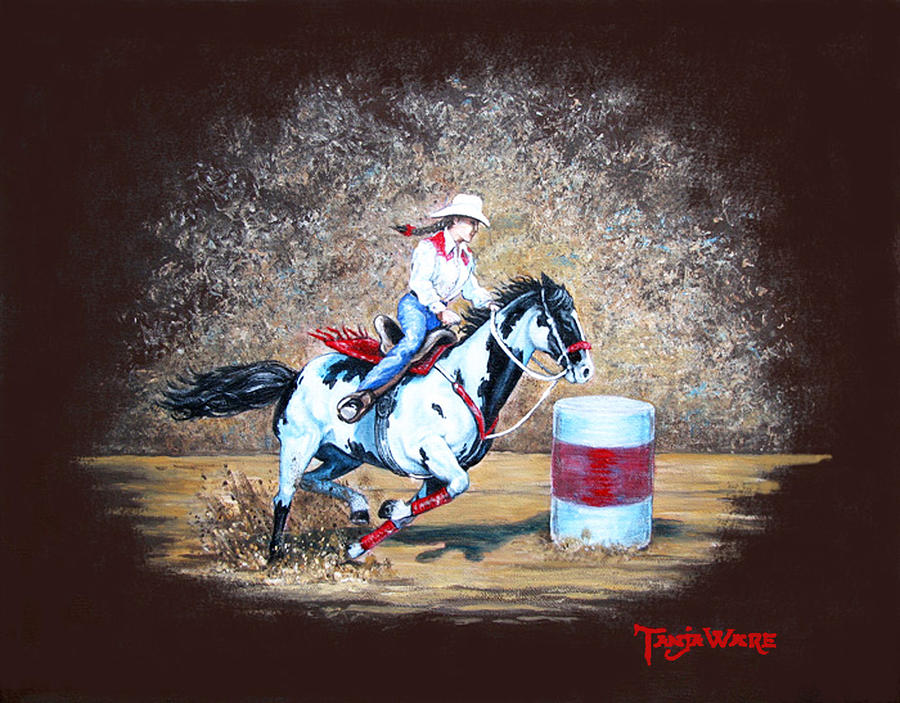 Barrel Racer Painting - Turns On A Dime by Tanja Ware