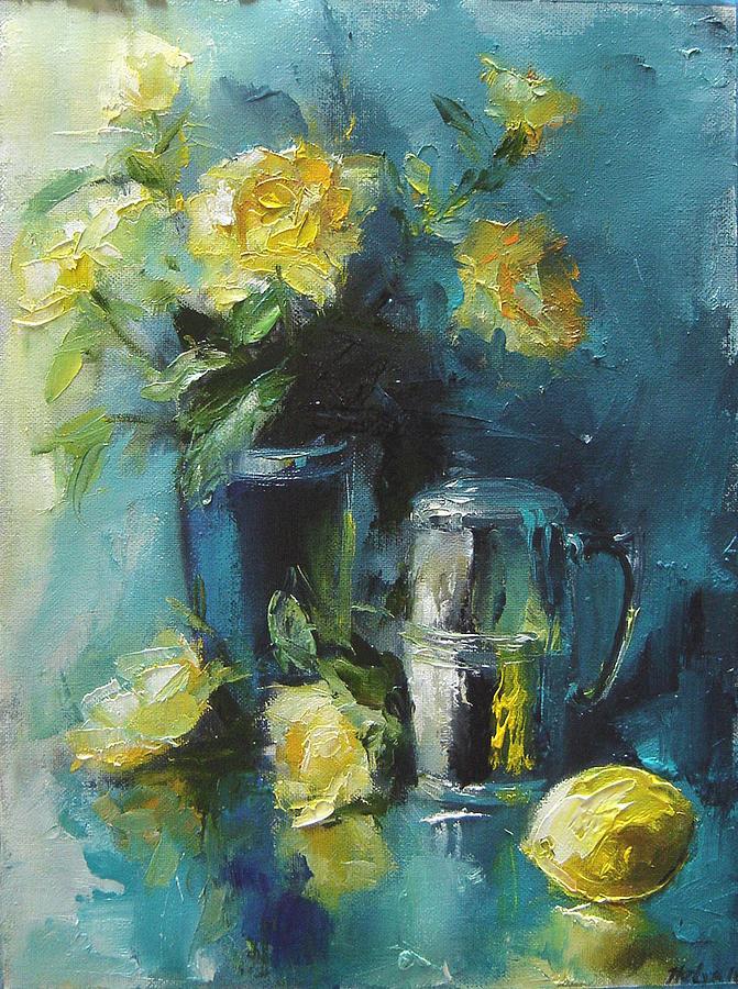 Painting Painting - Turquoise Abnd Yellow Roses by Nelya Shenklyarska