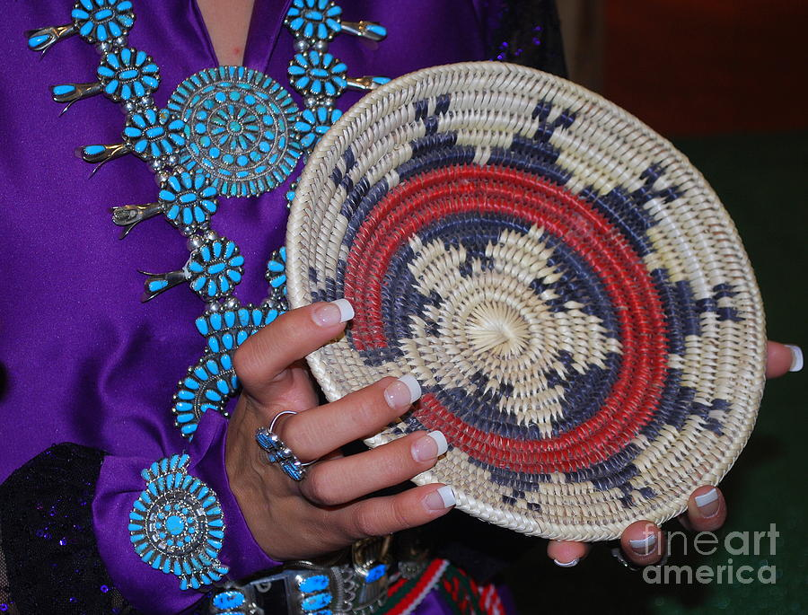 Turquoise Photograph - Turquoise And Navajo Wedding Basket by Anne Gordon