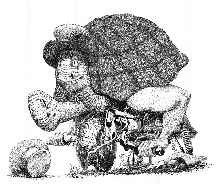 Pen And Ink Drawing - Turtle Thing by Olin  McKay