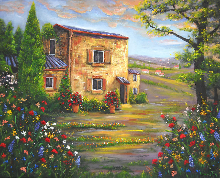 Landscape Painting - Tuscany Farmhouse by Connie Tom
