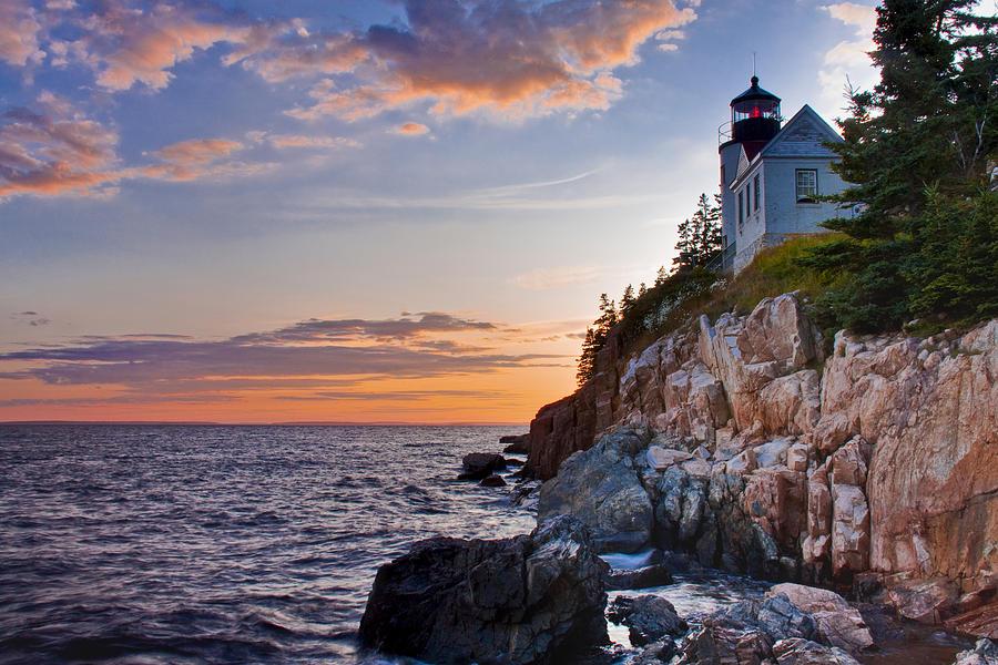 Lighthouse Photograph - Twilight At The Bass Harbor Head Light  by Jim Neumann
