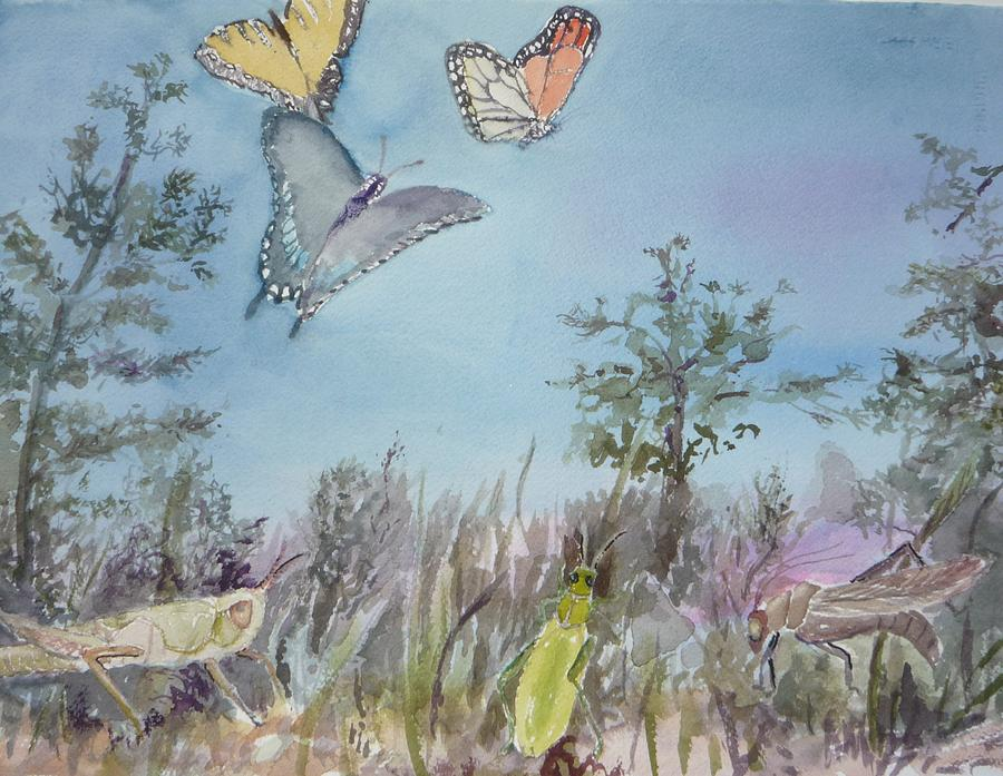 Butterfly Painting - Twilight In The Garden by Dorothy Herron
