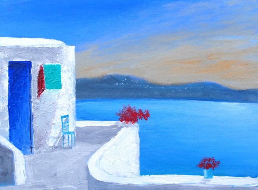 Twilight Santorini Painting By Larry Cirigliano
