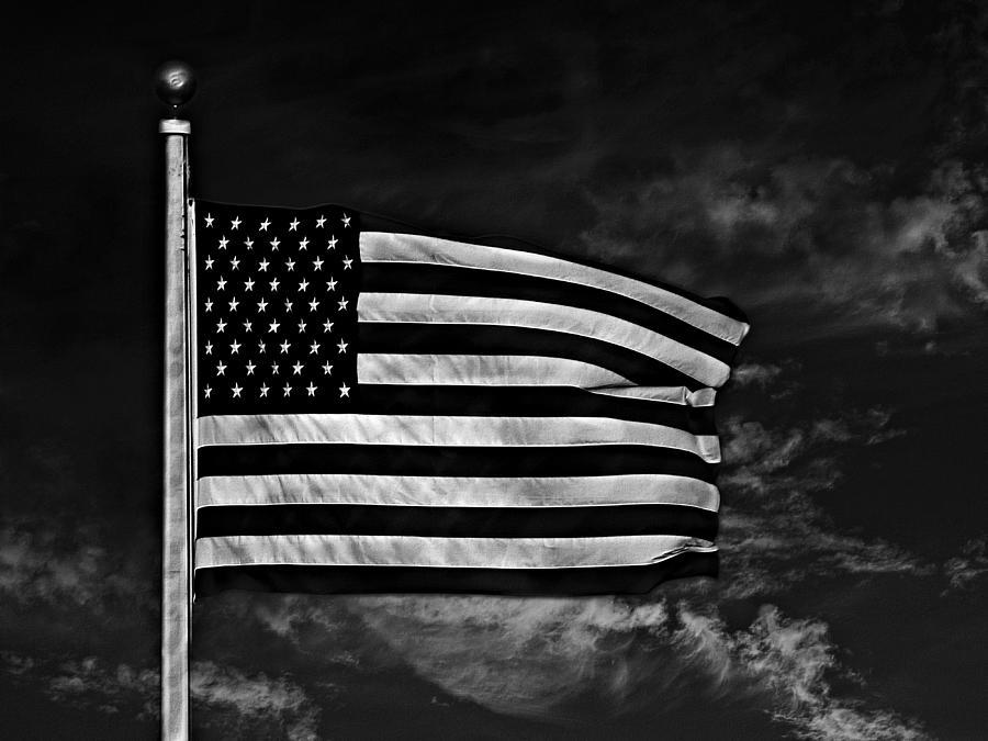 Flag Photograph - Twilights Last Gleaming Bw by David Dehner