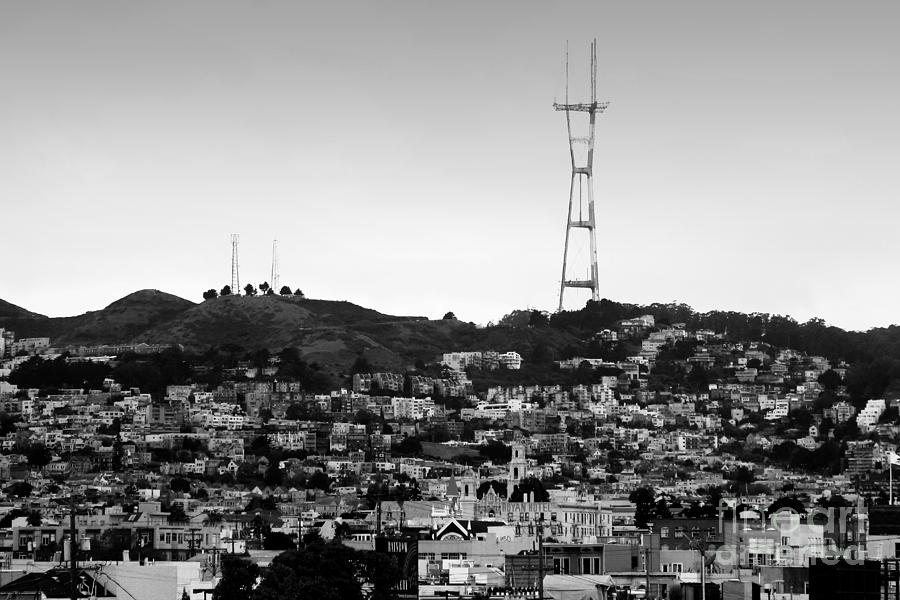 San francisco photograph twin peaks in san francisco black and white by wingsdomain art