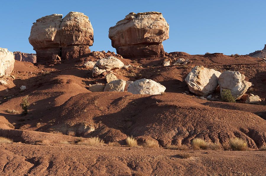Landscapes Photograph - Twin Rocks Capitol Reef Np by Sandra Bronstein