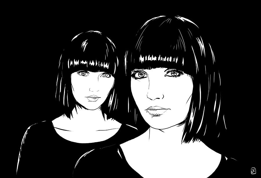 Twin Drawing - Twin Sisters by Giuseppe Cristiano