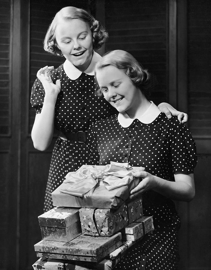 Vertical Photograph - Twin Teenage Girls W/ Wrapped Gifts by George Marks