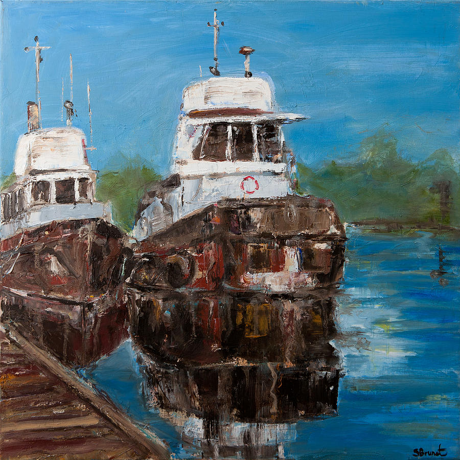 Sophie Brunet Painting - Twin Tugs by Sophie Brunet