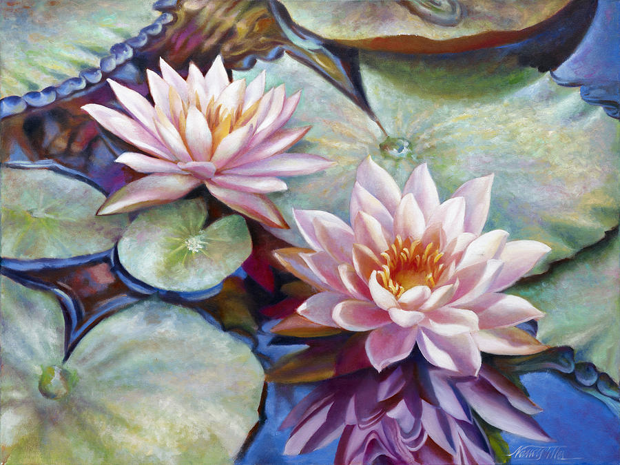 Twin Water Lilies And Reflection Painting by Nancy Tilles