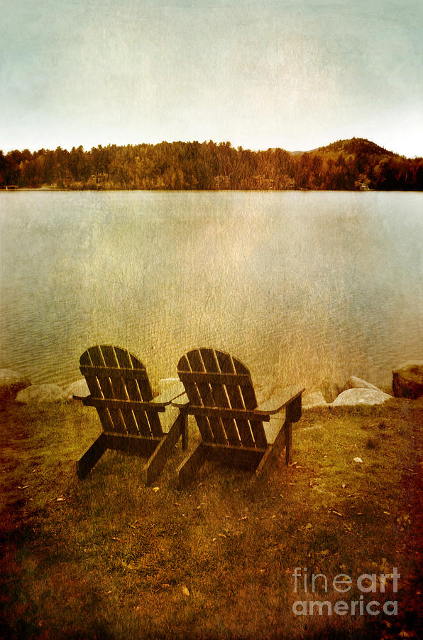Two Adirondack Chair By The Lake