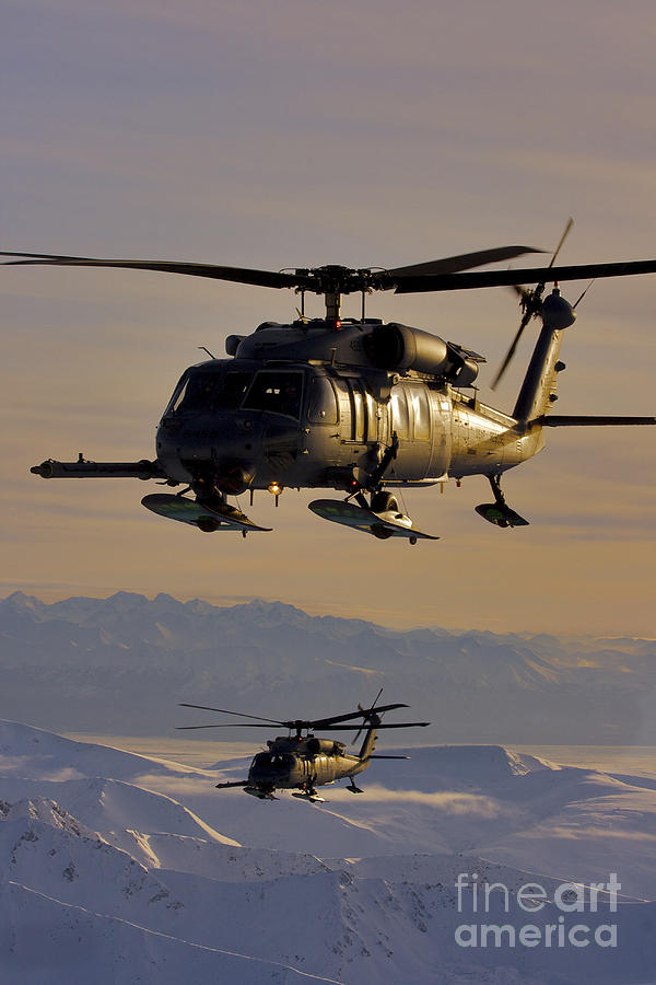 Military Photograph - Two Alaska Air National Guard Hh-60g by Stocktrek Images