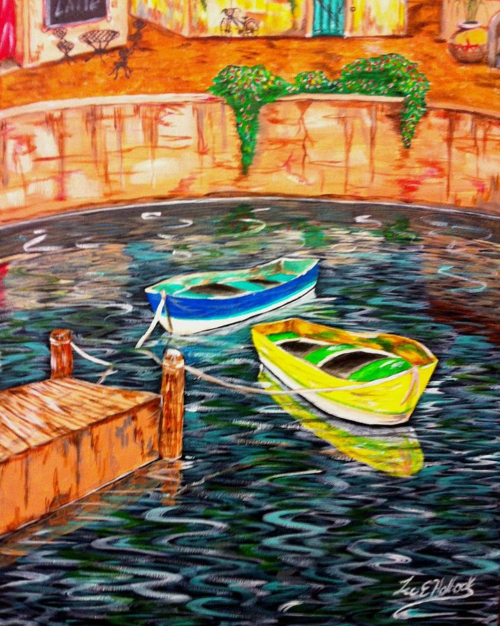 Boats Painting - Two Boats by Lee Halbrook