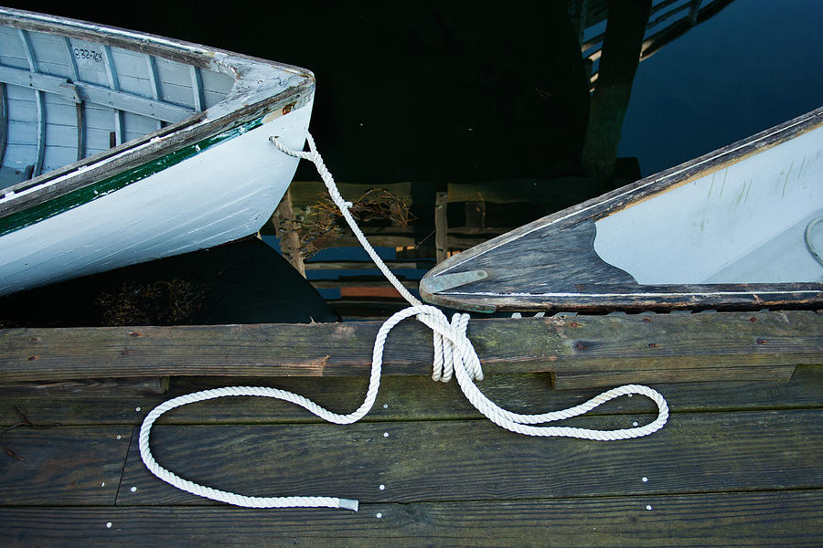 Boothbay Harbor Photograph - Two Bows by Ron St Jean