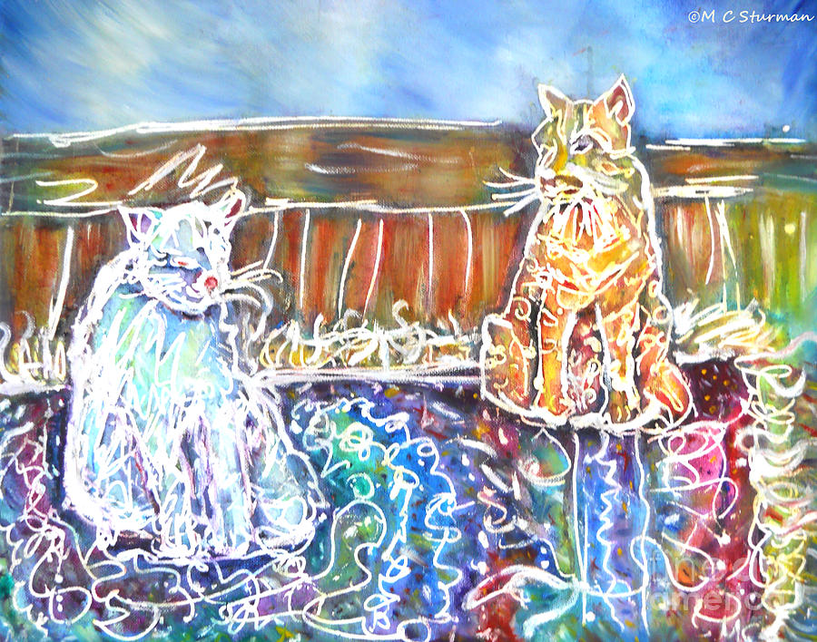 Cats Mixed Media - Two Cats On The Carpet by M C Sturman
