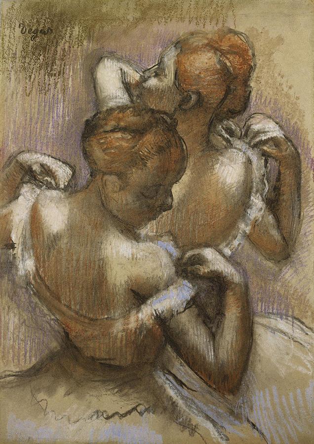 Two Dancers Adjusting Their Shoulder Straps Pastel - Two Dancers Adjusting Their Shoulder Straps by Edgar Degas